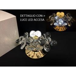 Coppia farfalle cristallo con placca 50° su base metallo e luce LED con scatola. CM 12 H 7 MADE IN ITALY