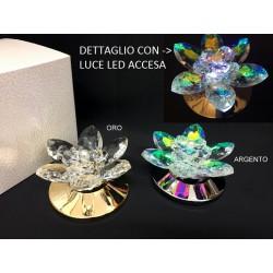 Fiore ninfea cristallo boreale su base metallo con luce LED e scatola. Diam. 8 H 4
