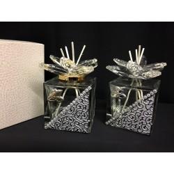 Profumatore vetro e cristalli con applicazione anniversari con scatola. CM 5.5x5.5 H 8