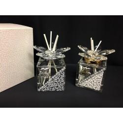 Profumatore vetro e cristalli con applicazione anniversari con scatola. CM 4.5x4.5 H 7