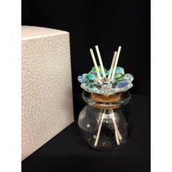 Profumatore vetro con tappo sughero e cristalli boreali con scatola. Diam. 5 H 7.5