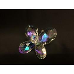 Farfalla cristallo boreale con applicazione strass. CM 7x7 H 4 MADE IN ITALY