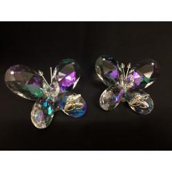 Farfalla cristallo boreale con applicazione strass e placca anniversari. CM 7x7 H 4