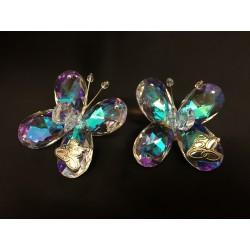 Farfalla cristallo boreale con applicazione strass e placca anniversari. CM 5.5x5.5 H 3 MADE IN ITALY
