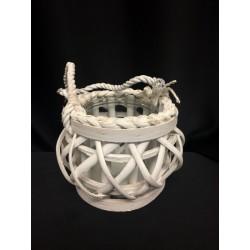 Lanterna legno intrecciato con manico. H 13 Diam 16