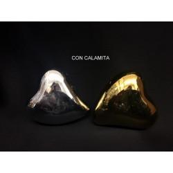 Cuore ceramica oro o argento con calamita. CM 3.5