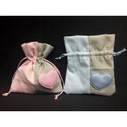 Sacchetto doppio tessuto con cuore. CM 10x11.5