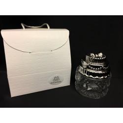 Ciotolina vetro forma torta con coperchio silver con scatola. Diam. 7 H 8