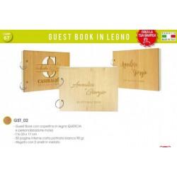 Guest Book con copertina legno quercia, PERSONALIZZAZIONE INCISA. CM 23x17