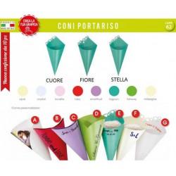 Pacco 10 coni carta vari colori con traforo, scritte personalizzabili.