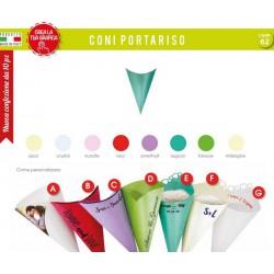 Pacco 10 coni carta vari colori con chiusura, scritte personalizzabili.