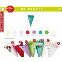 Pacco 10 coni carta aperti vari colori, scritte personalizzabili.