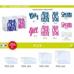 Scatola plexiglass varie misure con applicazione scritta plexi colorata
