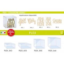 Scatola plexiglass varie misure con applicazione scritta legno