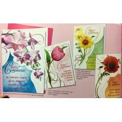 Biglietto auguri compleanno con disegno fiori. Ass 4