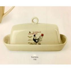 Burriera ceramica con decoro gallo. CM 17x10 H 11
