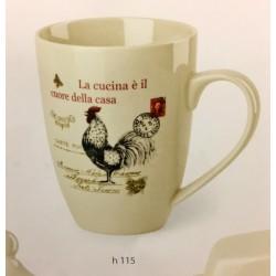 Tazza mug in ceramica con decoro gallo. Diam 8 H 12