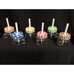 Barattolo vetro con tappo colorato e cannuccia. Ass 6 colori. H 11 (totale)