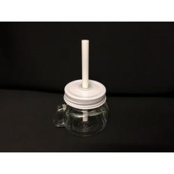 Barattolo vetro con tappo bianco e cannuccia. H 11 (totale)