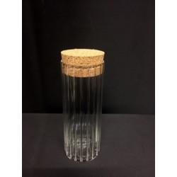 Barattolo vetro rigato con tappo sughero. H 9 Diam. 3,5