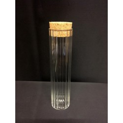 Barattolo vetro rigato con tappo sughero. H 11.5 Diam. 3