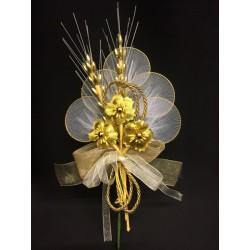Tris fiore oro portaconfetti con spighe e nastri. CM 20