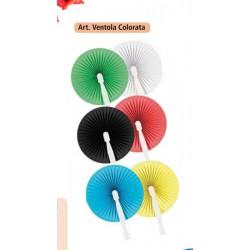 Ventola carta e plastica, colori assortiti come campioni in foto. Diam. 23 Stecca CM 21