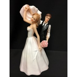 Cake topper coppia sposi ballerini in resina. H 14