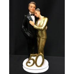 Cake topper coppia 50° in resina con abito glitter oro. H 18.5