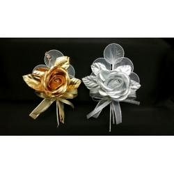 Rosa portaconfetti oro o agento con doppio fiocco. CM 18