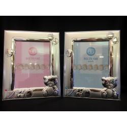 Portafoto argento con retro legno rosa o azzurro. CM 13x18