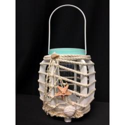 Lanterna legno con manico metallo e decori corda e conchiglie. H 14-24 Diam. 11