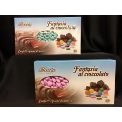 Confetti cioccolato fondente, cuoricini mignon rosa o azzurri KG 1