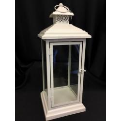 Lanterna metallo avorio e vetro CM 20x20 H 50