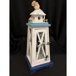 Lanterna legno decori marinari con manico corda. CM 20x20 H 50