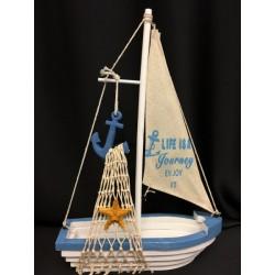 Barca a vela in legno con vela tessuto e decori marinari. CM 21x7.5 H 32