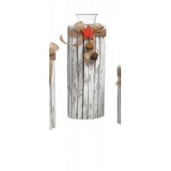 Portacandela tronco con fiocchi e applicazioni. H 28