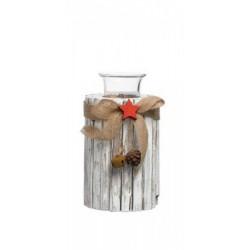 Portacandela tronco con fiocchi e applicazioni. H 10