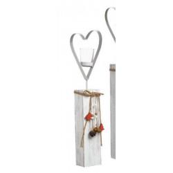 Portacandela vetro su base legno con cuore metallo e applicazioni. H 53