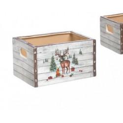 Cesto ceramica con decoro renna. L 16