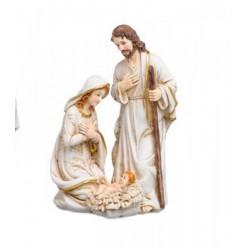 Natività in resina con decori oro. H 15