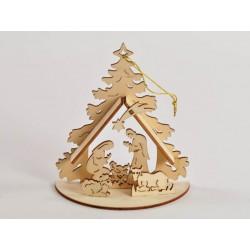Appendino in legno forma albero con Sacra Famiglia CM 12