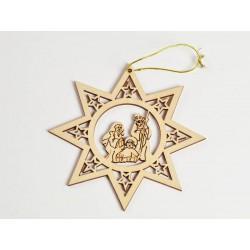 Appendino in legno forma stella con Sacra Famiglia CM 12