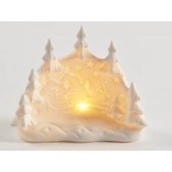 Paesaggio natalizio porcellana con luce LED CM 11x4 H 10