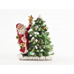 Babbo Natale con albero in resina, musica e luci CM 17x9 H 20