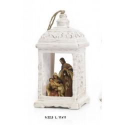 Lanterna da appendere ceramica con natività resina. CM 23