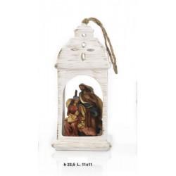 Lanterna da appendere ceramica con natività resina. CM 22