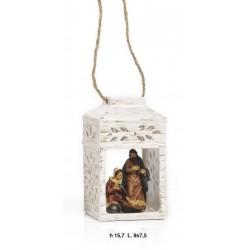 Lanterna da appendere ceramica con natività resina. CM 15