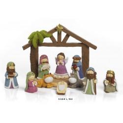 Gruppo di 10 personaggi, natività in resina spiritosa con capanna. CM 9