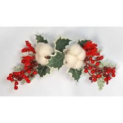Pick fiori di cotone con bacche rosse e agrifoglio. CM 25